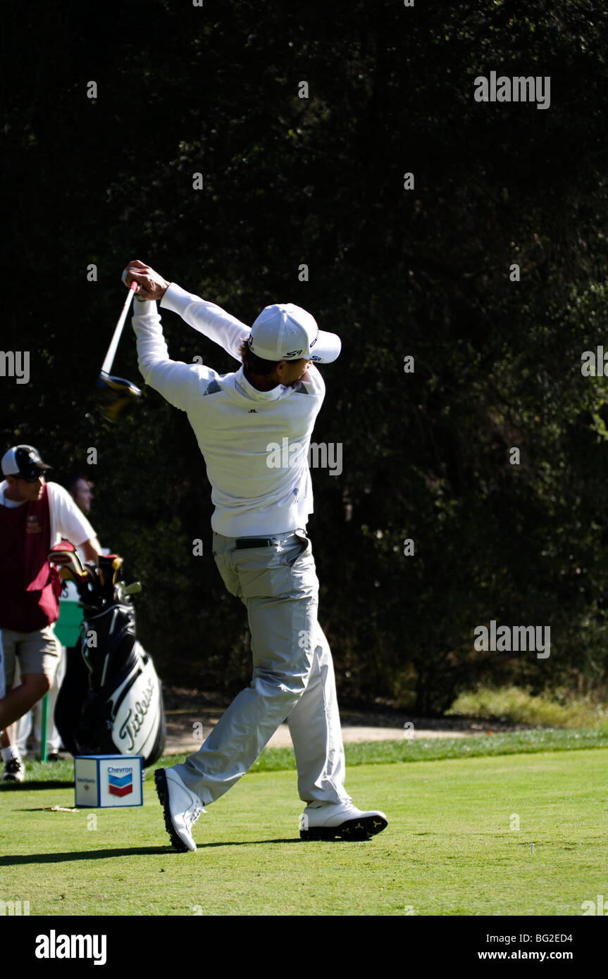 Camilo Villegas hits a tee shot during the Pro Am for the Chevron World Golf Challenge at Sherwood Country Club. - Stock Image