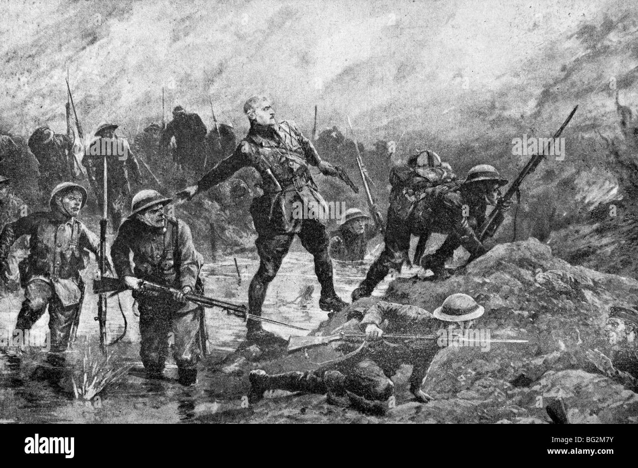 Contemporary WW1 illustration of British troops carrying out a moonlight assault against German lines on the Somme - Stock Image