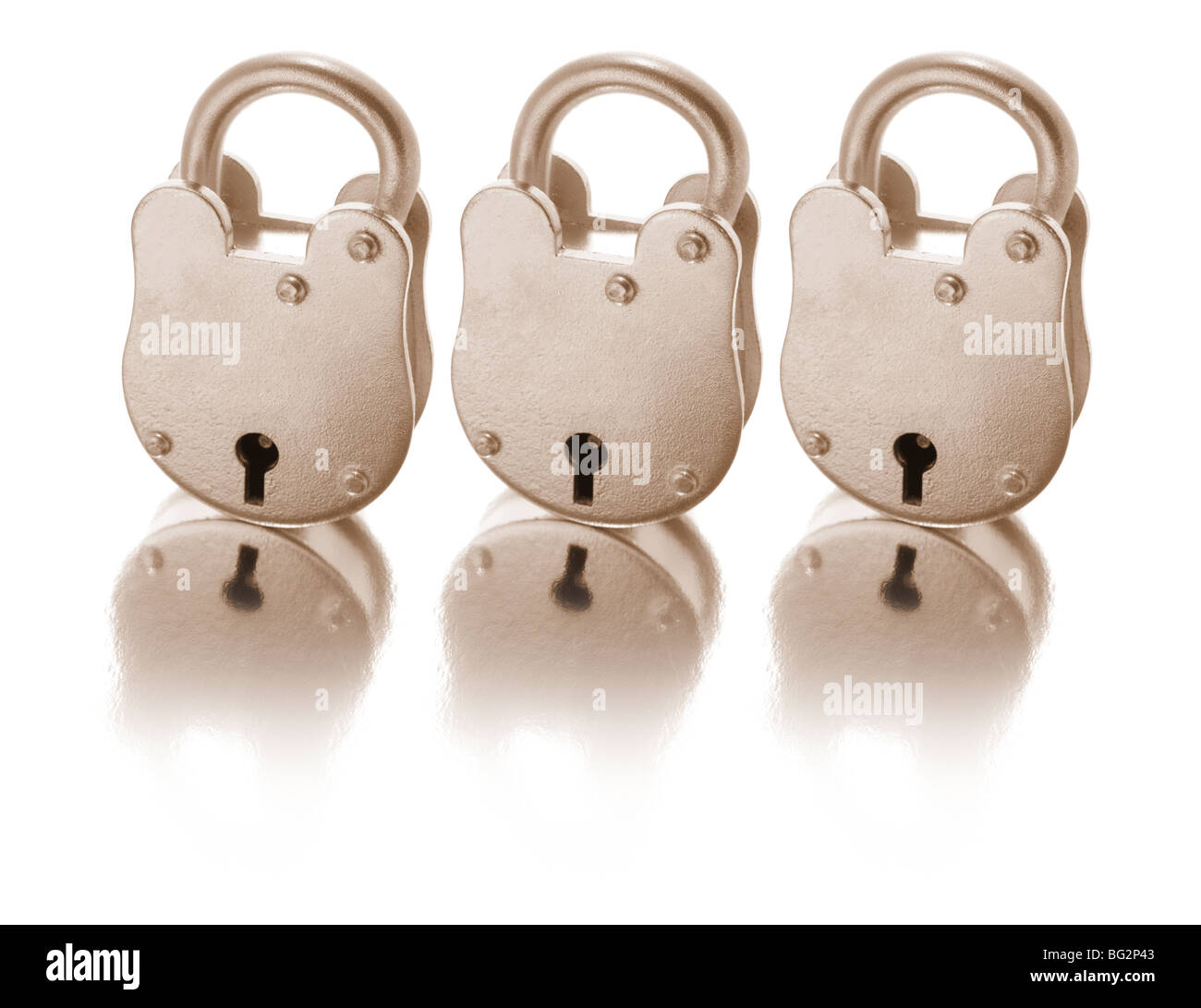 Antique Locks with Reflection - Stock Image