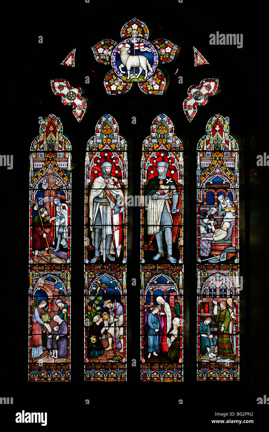 The West Stained Glass Windows, Knights Templar & Hospitaller, Church of St Andrew, Temple Grafton, Warwickshire - Stock Image