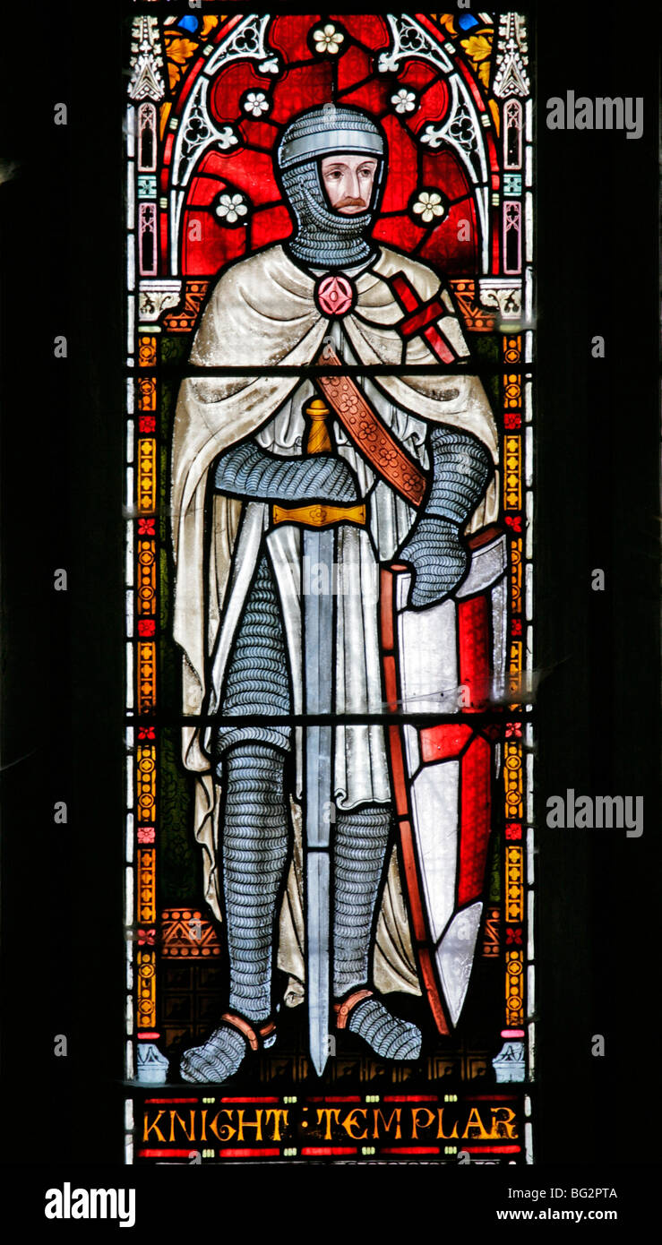 Detail from the west stained glass window depicting Knights Templar, Church of St Andrew, Temple Grafton, Warwickshire - Stock Image