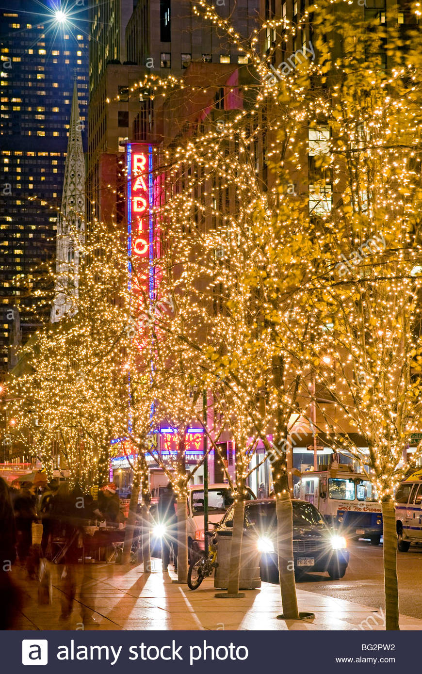 christmas new york city radio city music hall stock image