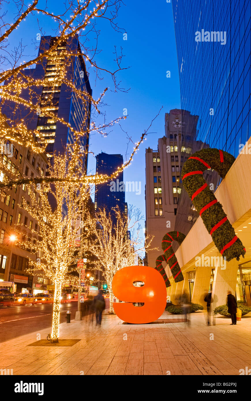 Christmas New York 57th Street Fifth Avenue - Stock Image