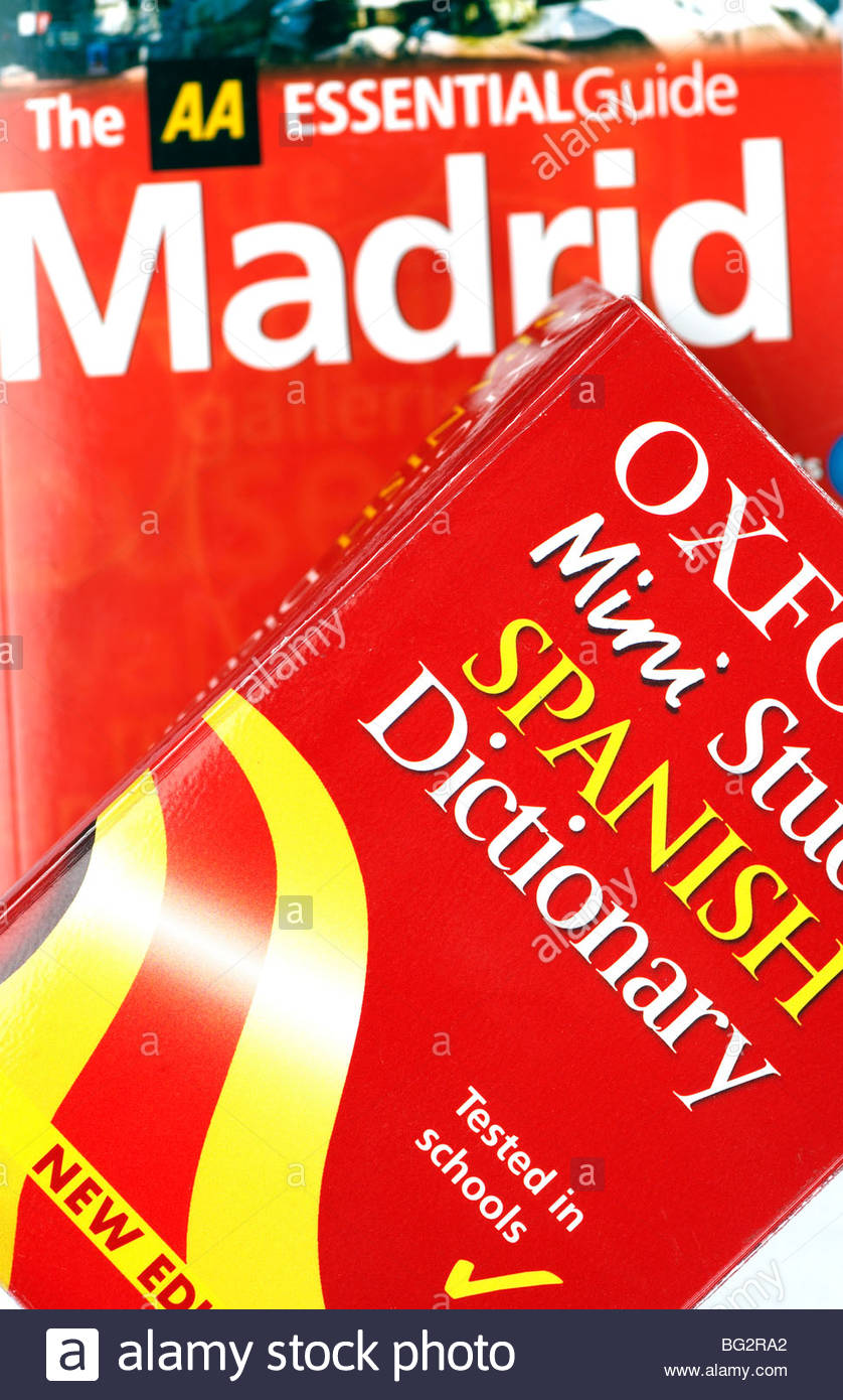 Spanish dictionary and Madrid travel guide - Stock Image