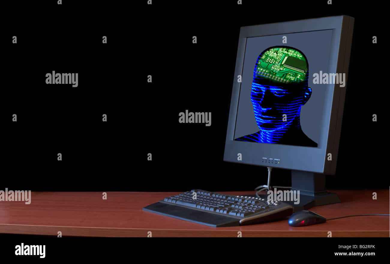 Concept image of a human head with a computer chip for a brain inside a computer monitor - Stock Image
