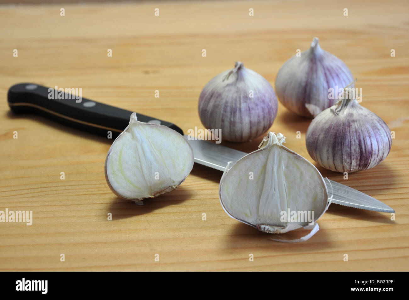 New exotic breed of garlic (Elephant garlic) that has only one clove! Several whole, some halves and knife on cutting - Stock Image