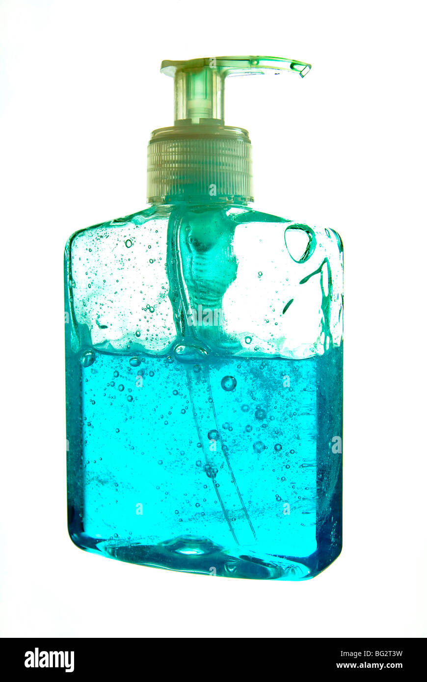 Blue Hand Wash Gel in Pump Dispenser isolated on white background - Stock Image