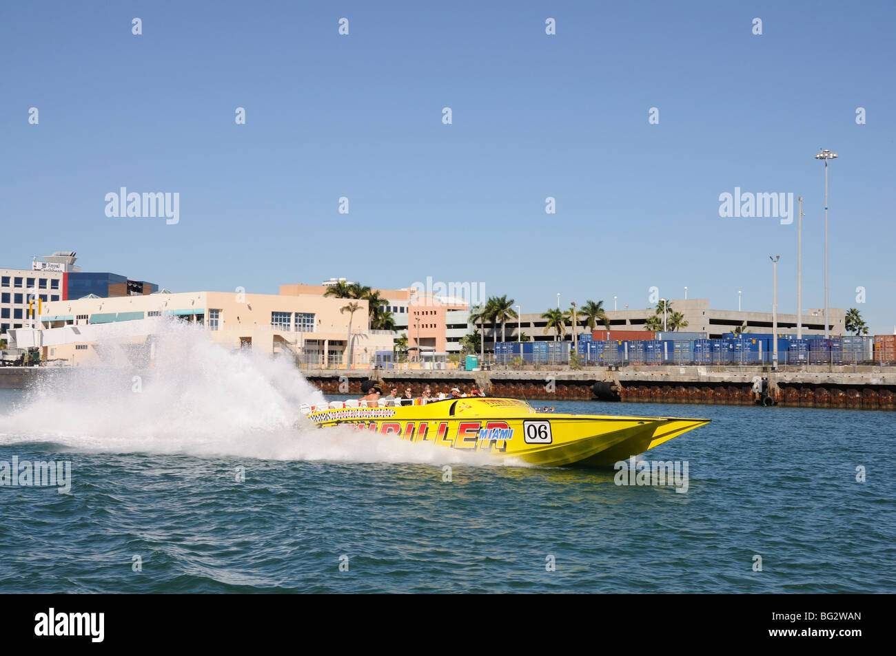 Tourists having fun in a speedboat, Miami Florida - Stock Image