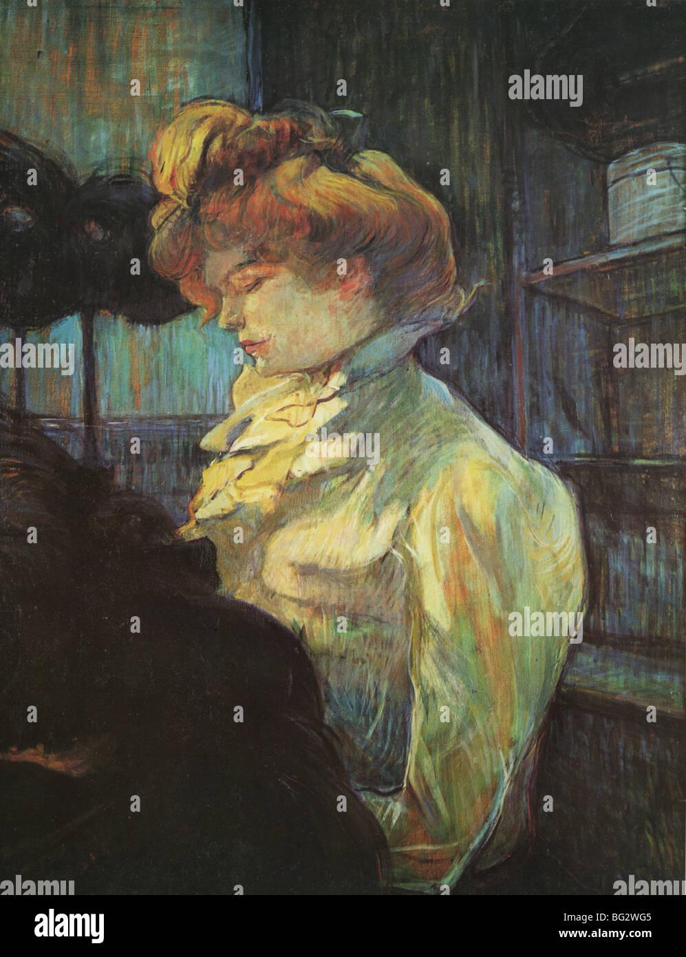 Henri de Toulouse-Lautrec  La Modiste - 'The Milliner' 1900 Oil on cardboard Musee Toulouse-Lautrec, - Stock Image