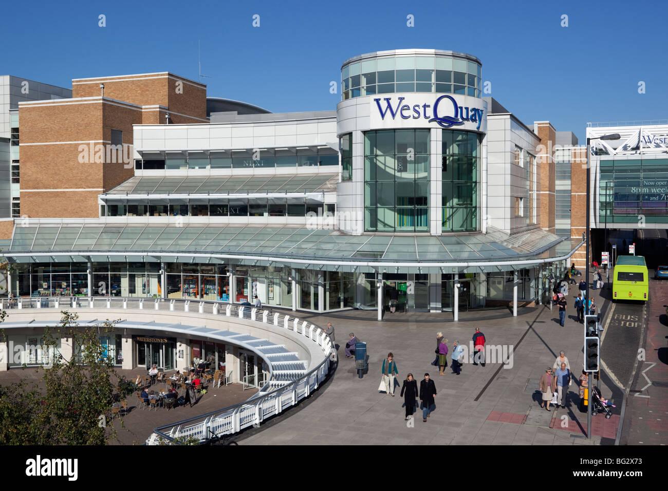 Exterior of West Quay Shopping Centre - Stock Image