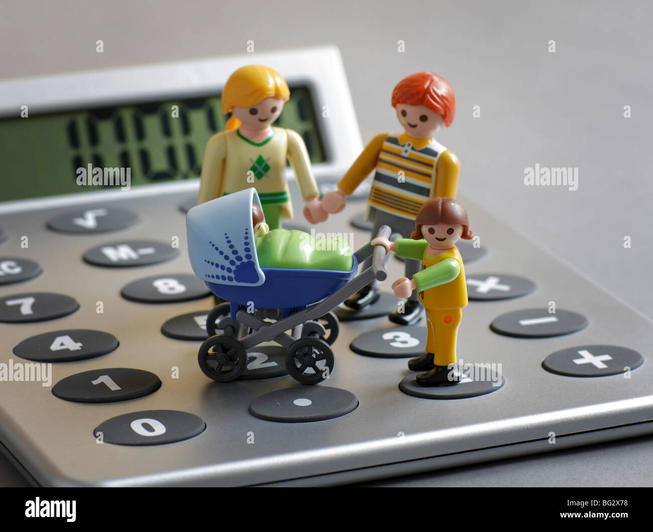 Playmobil toys on a calculater . Stock Photo