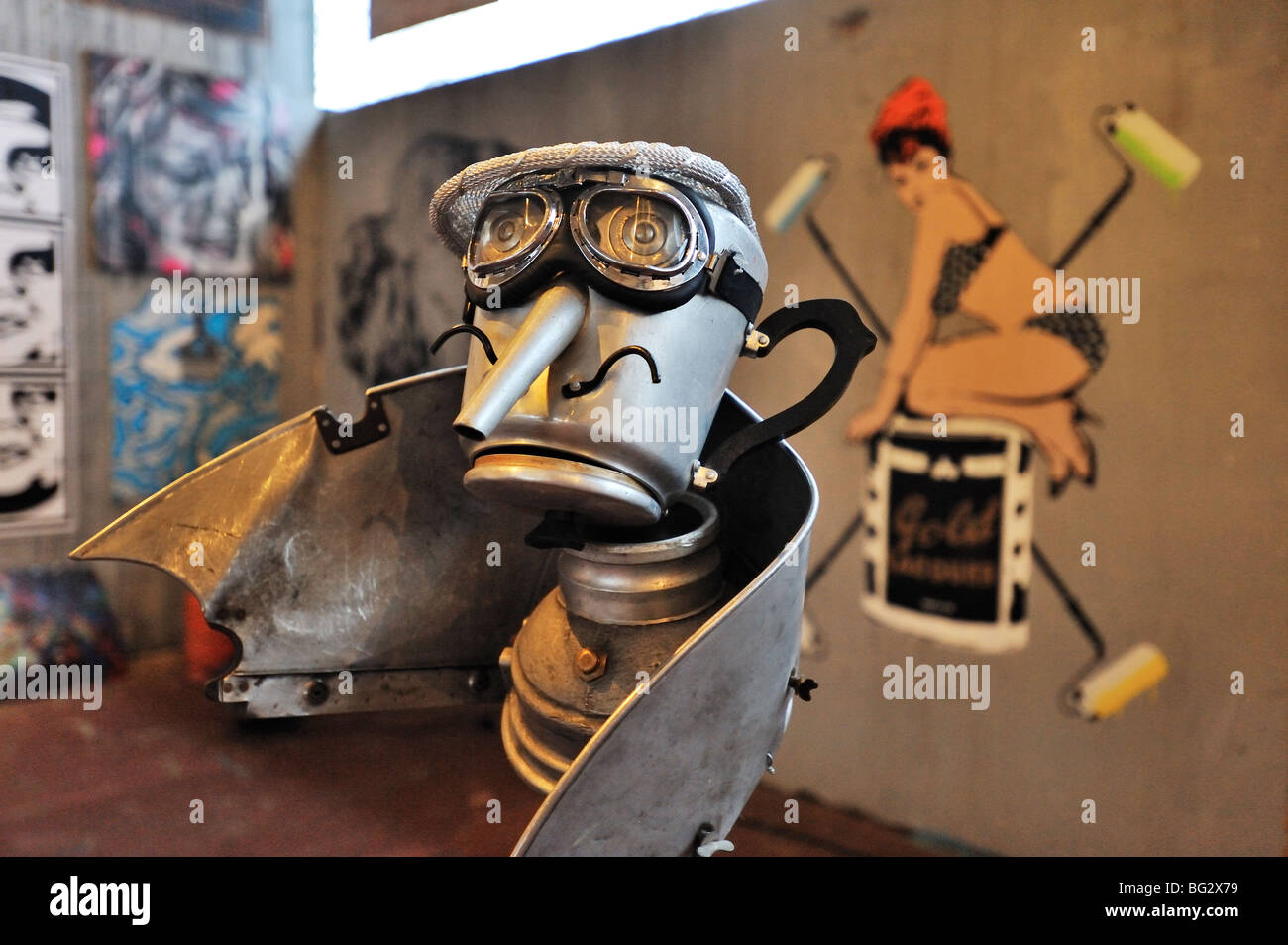 Street art from Mutoid Waste and UK's leading graffiti artists at Mutate Britain One Foot in the Grove winter - Stock Image