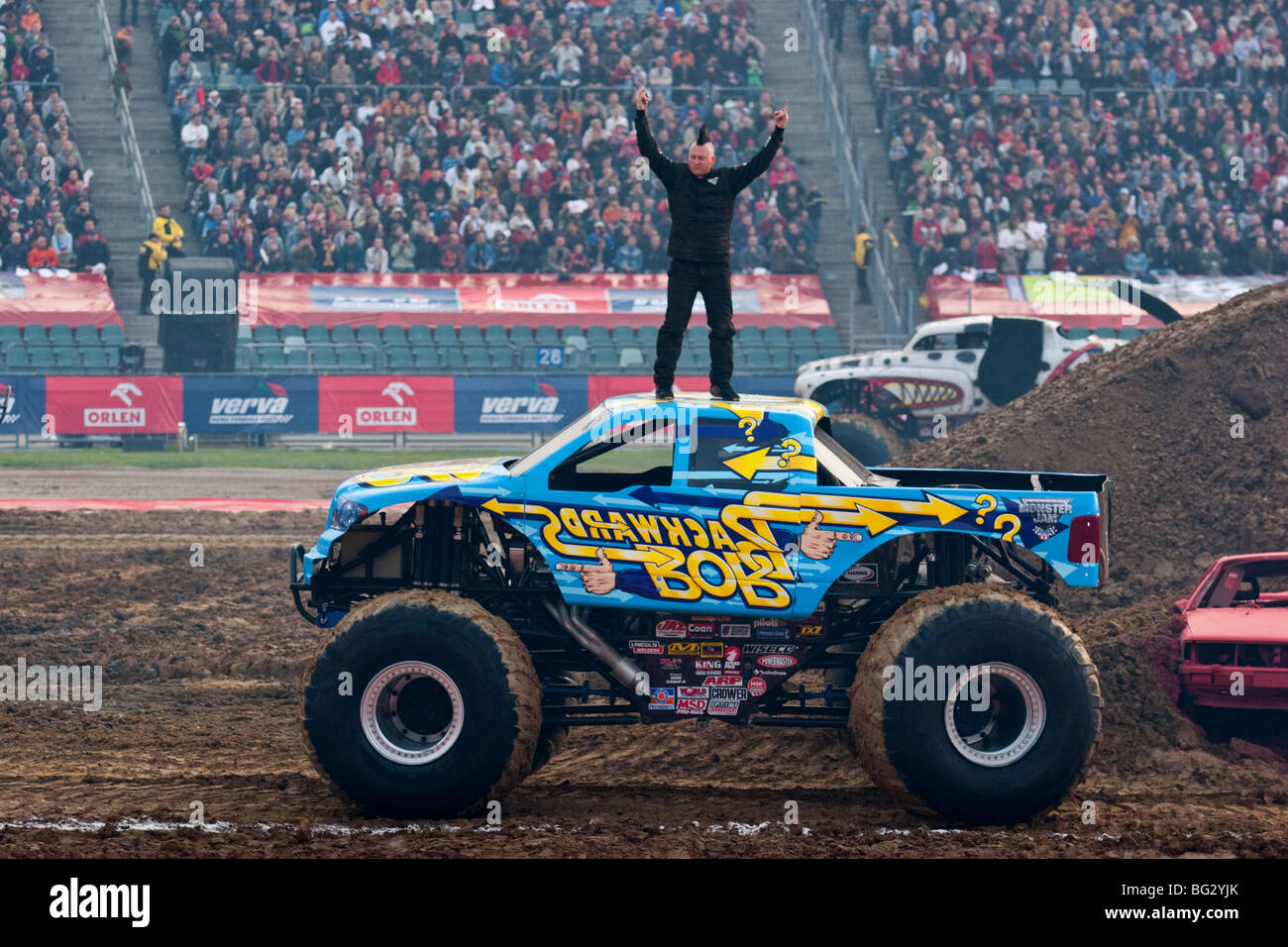 monster truck show during monster jam katowice poland stock photo