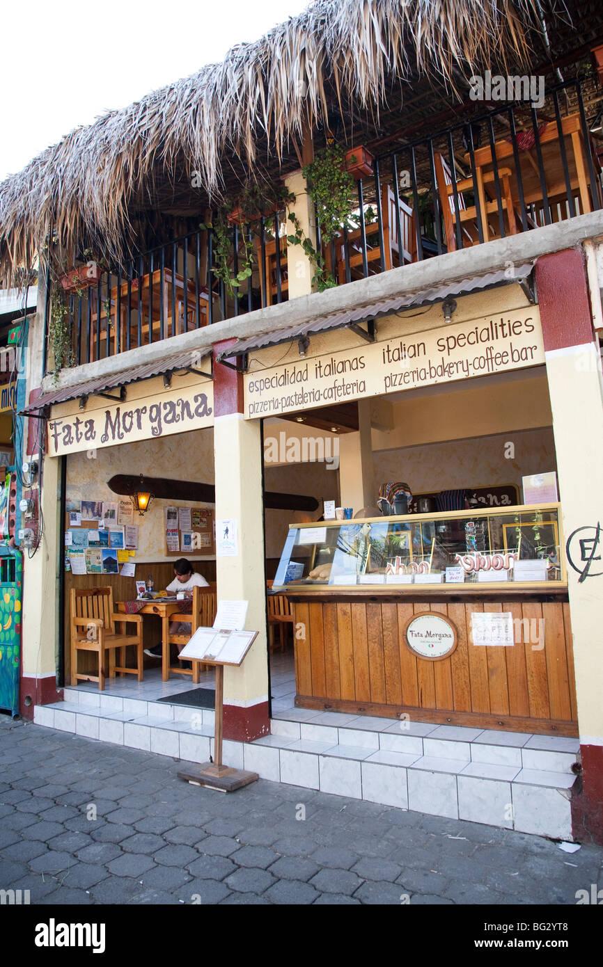 Fata Morgana Cafe in San Pedro La Laguna at Lake Atitlan Guatemala. - Stock Image