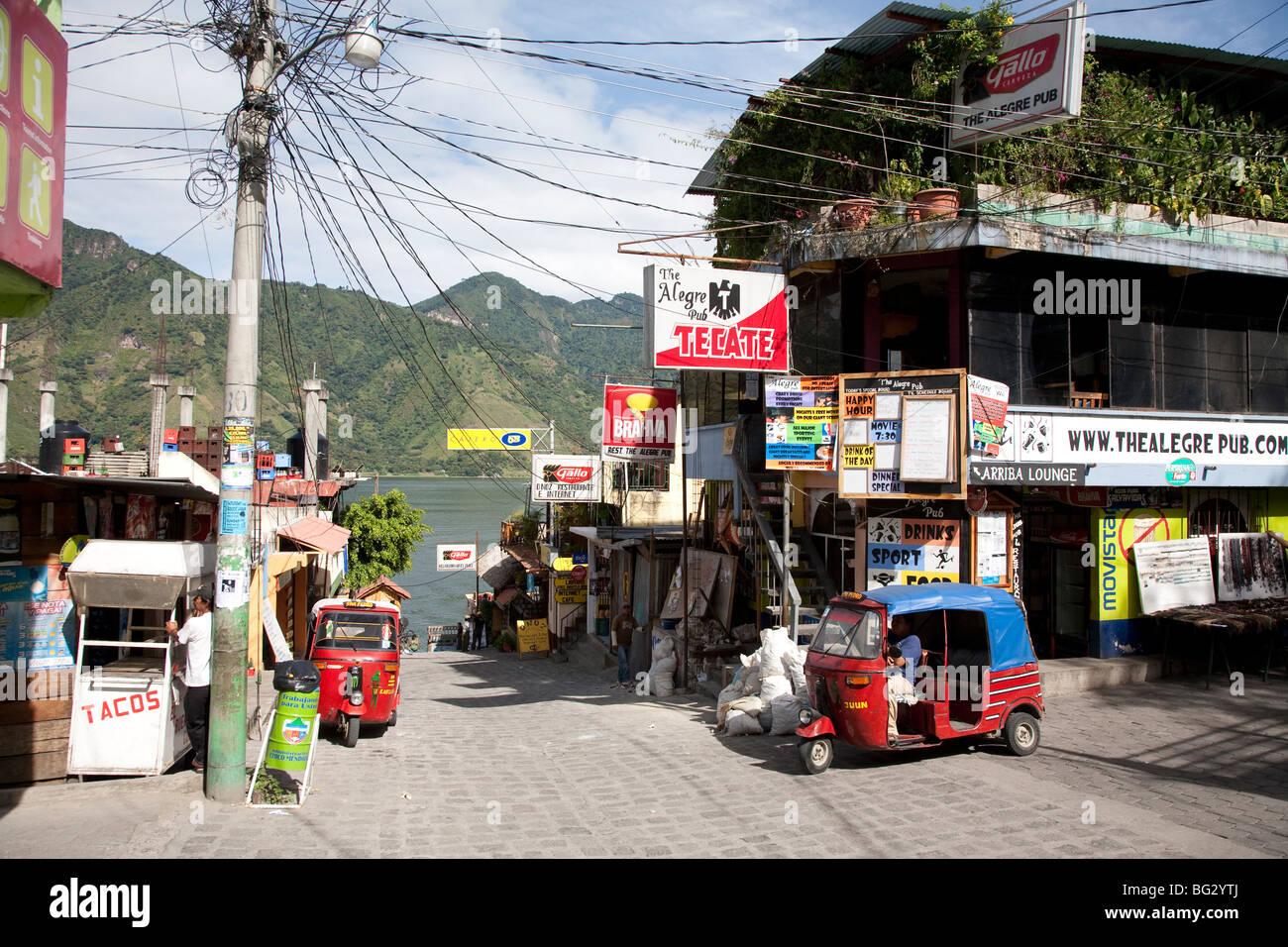 Main Street and Panajachel Dock in San Pedro La Laguna at Lake Atitlan Guatemala. - Stock Image