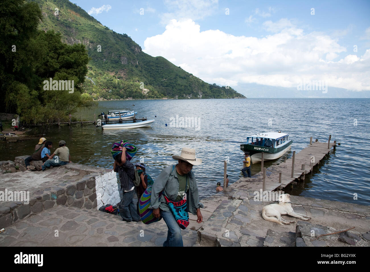Landing Stage of Tzununa at Lake Atitlan Guatemala. - Stock Image