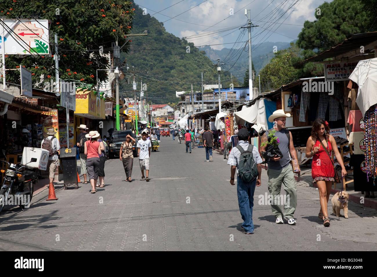 Calle Santander Panajachel Lake Atitlan Guatemala. - Stock Image