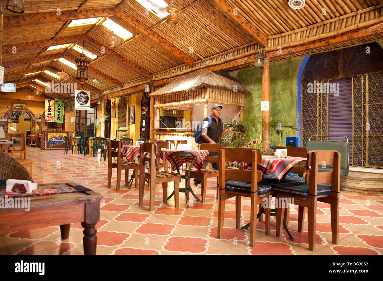 Cafe La Parada in the Centro Dorado next to Calle Santander Panajachel Lake Atitlan Guatemala. - Stock Image
