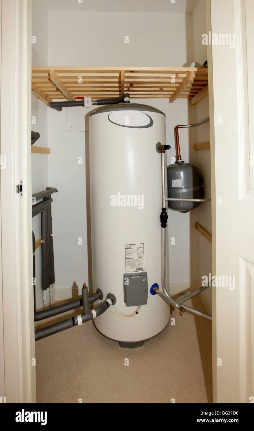 Modern unvented indirect hot water system storage tank housed in an ...