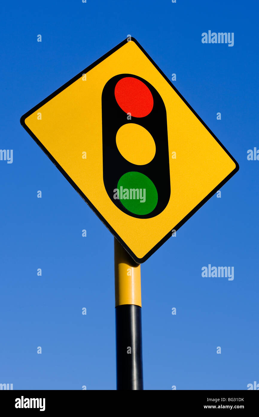 Traffic lights ahead, sign, signage,information,notice,advance warning,warning,slow,slower,slow down - Stock Image