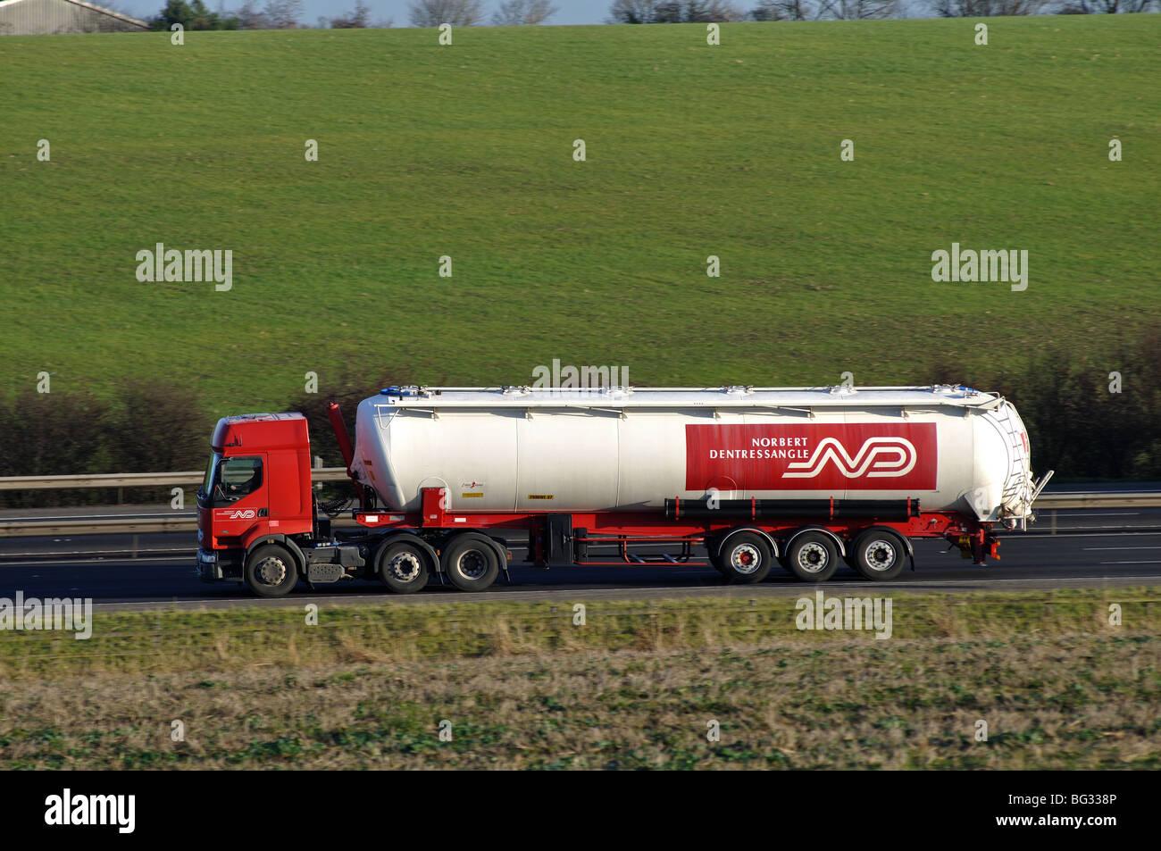 Norbert Dentressangle tanker lorry on M40 motorway, Warwickshire, UK Stock Photo