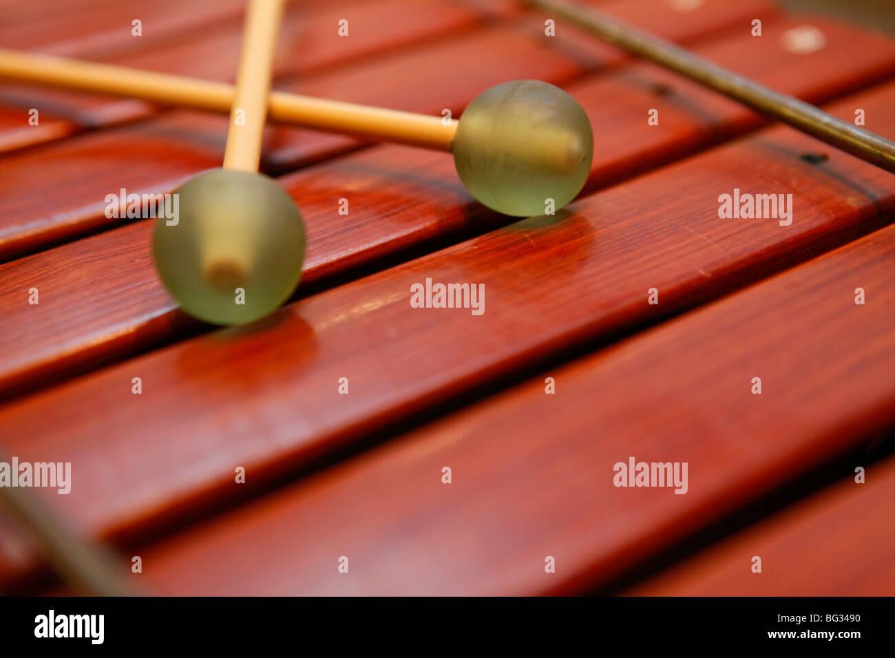 Glockenspiel, wooden musical instrument. xylophone - Stock Image