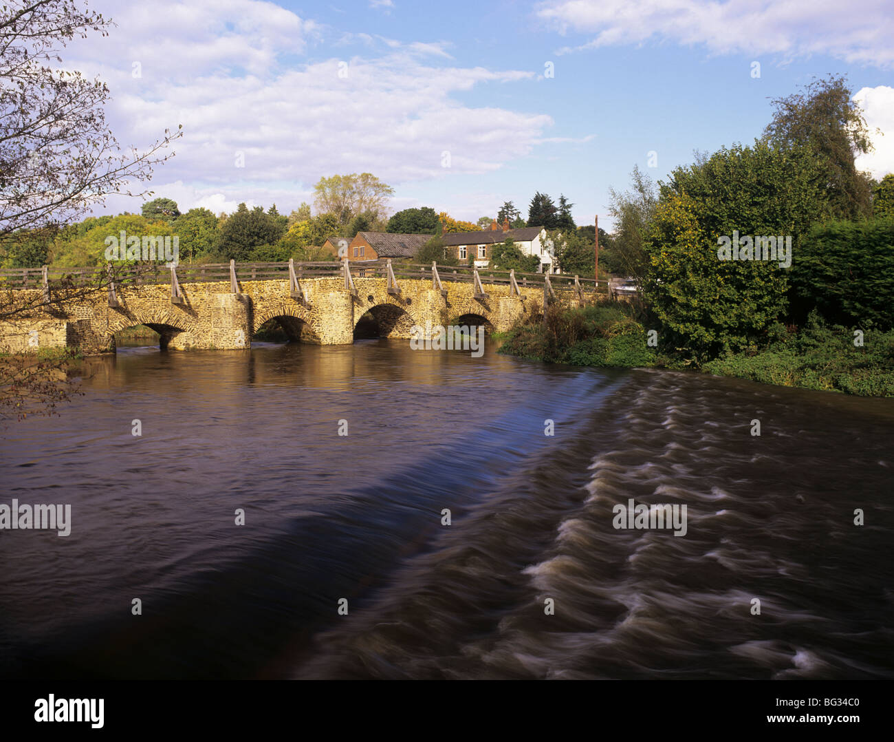 The River Wey by old Tilford Bridge and ford. Tilford Surrey England UK Britain - Stock Image