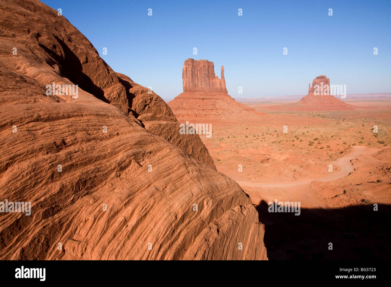 View of the West and East Butte in Monument Valley, Utah - Stock Image