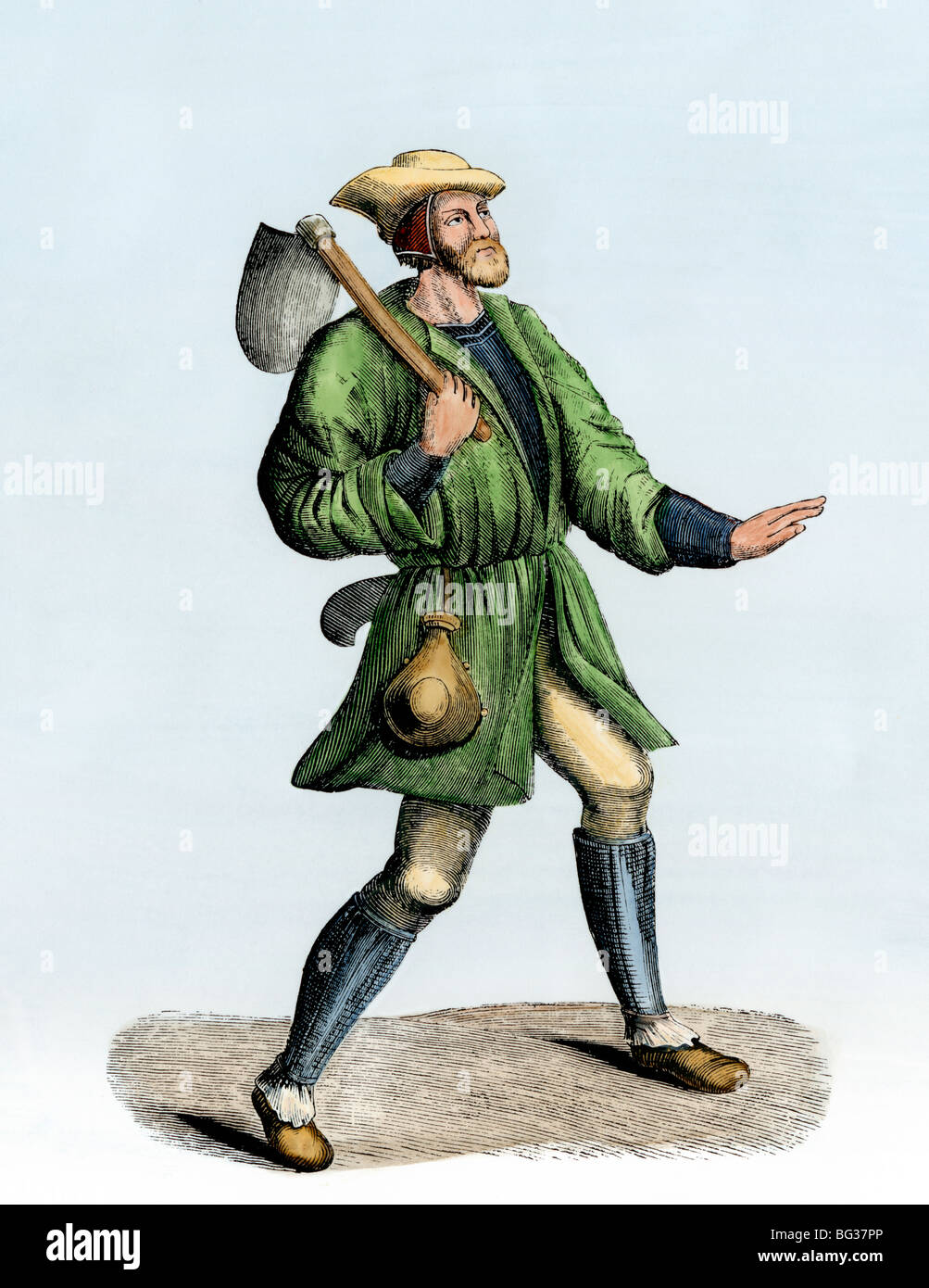 Peasant carrying a shovel in the 1400s. Hand-colored woodcut - Stock Image