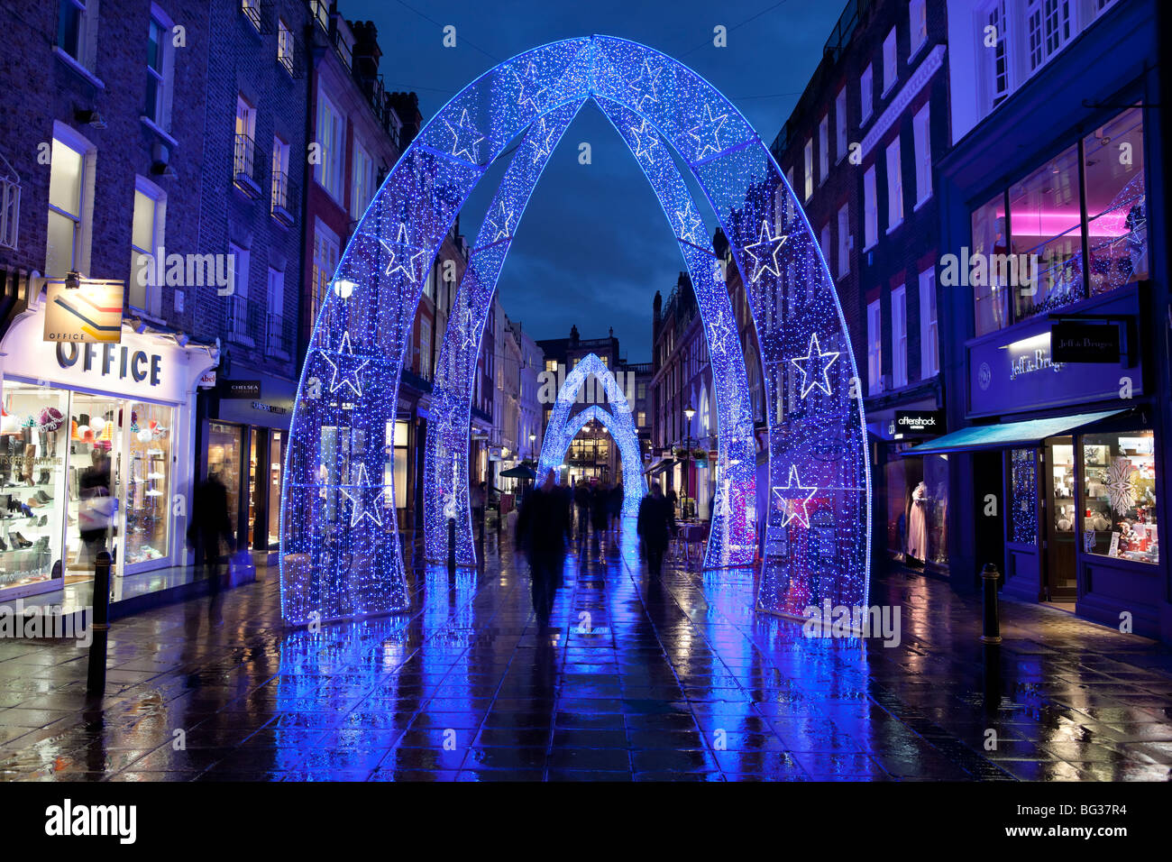 Christmas lights along South Molton Street in Mayfair area of London`s West End - Stock Image