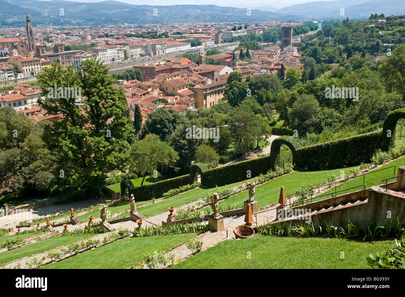 Panoramic view over River Arno and Florence from the Bardini Gardens, Florence (Firenze), Tuscany, Italy, Europe - Stock Image