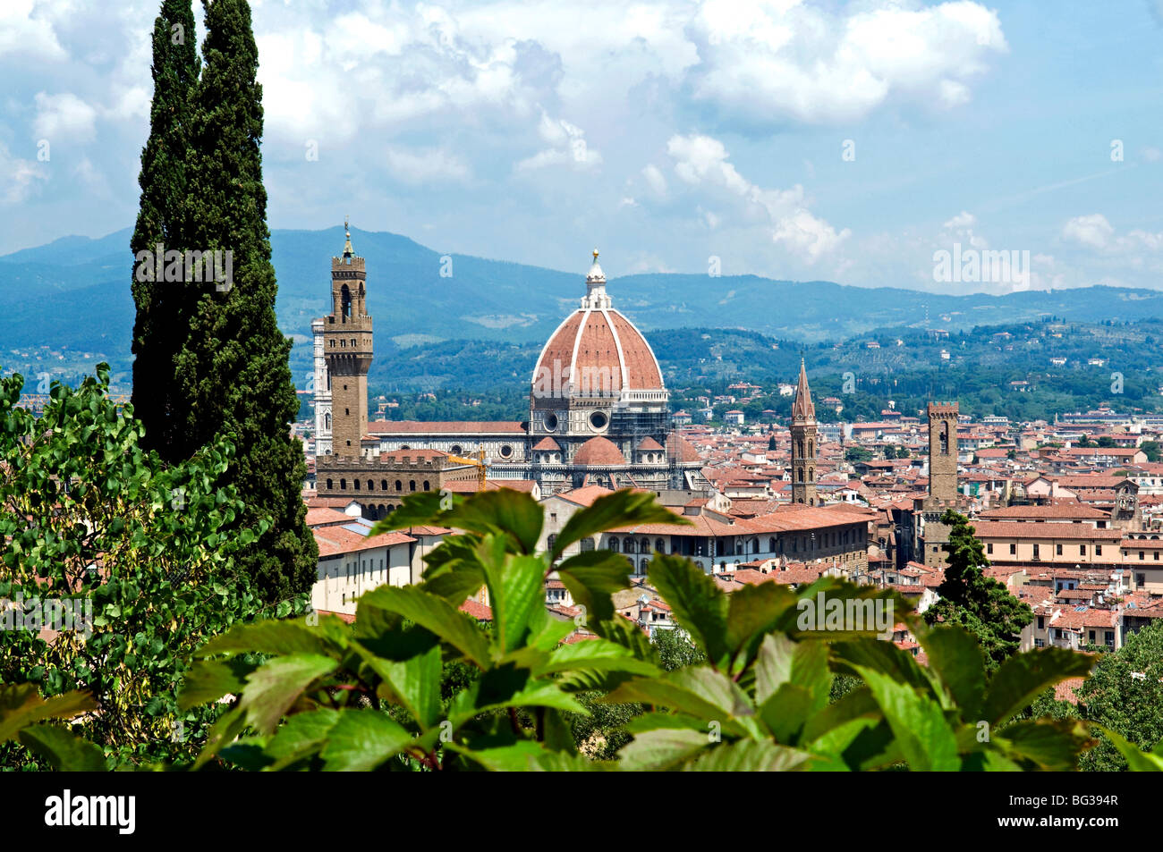 Panoramic view out over Florence from the Bardini Garden, The Bardini Garden, Florence (Firenze), Tuscany, Italy, - Stock Image