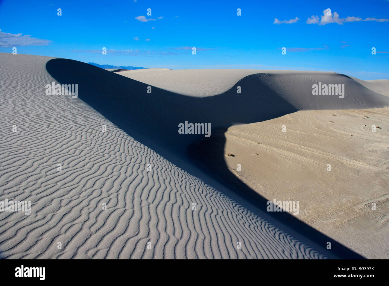 Home of the dunes of White Sands New Mexico.  These dramatic dunes are ever moving due to the prevailing winds with the ripples Stock Photo