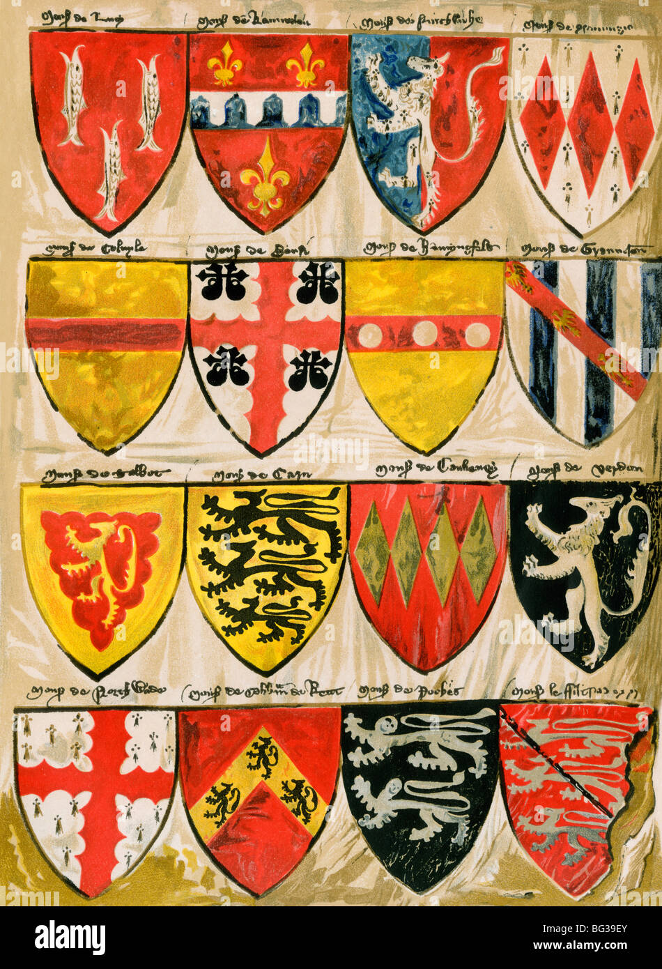 Shields of English knights and barons, painted during the reign of Edward III. Color lithograph - Stock Image