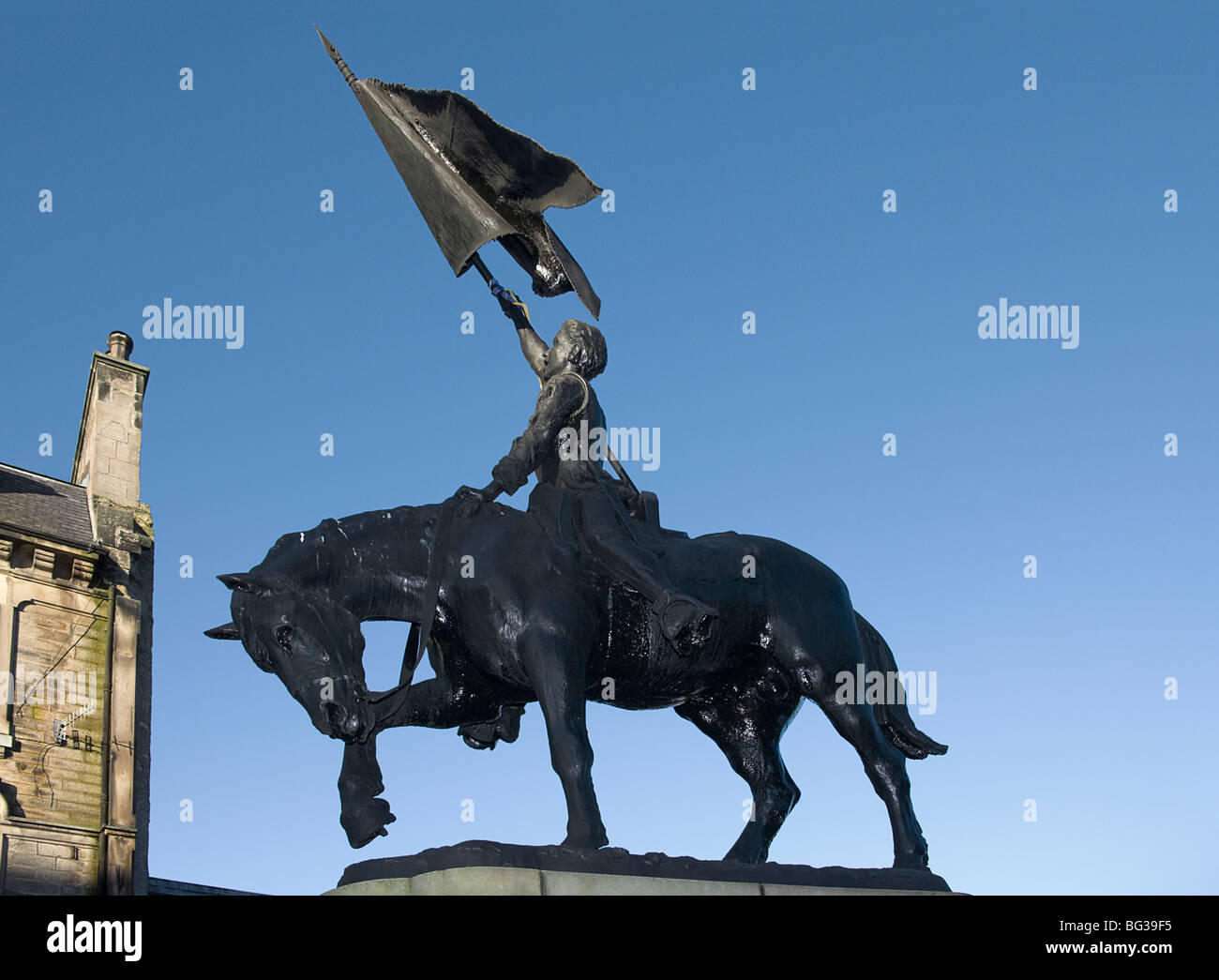 1514 Memorial in Hawick Otherwise known as 'Ken The Horse' unveiled in 1914.     Scottish borders. - Stock Image