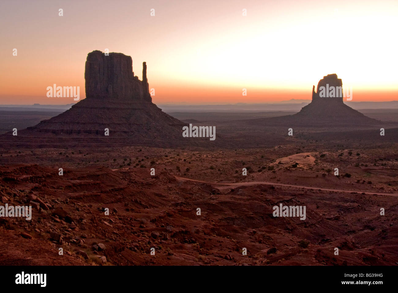 Monument Valley's West and East Butte, Utah - Stock Image