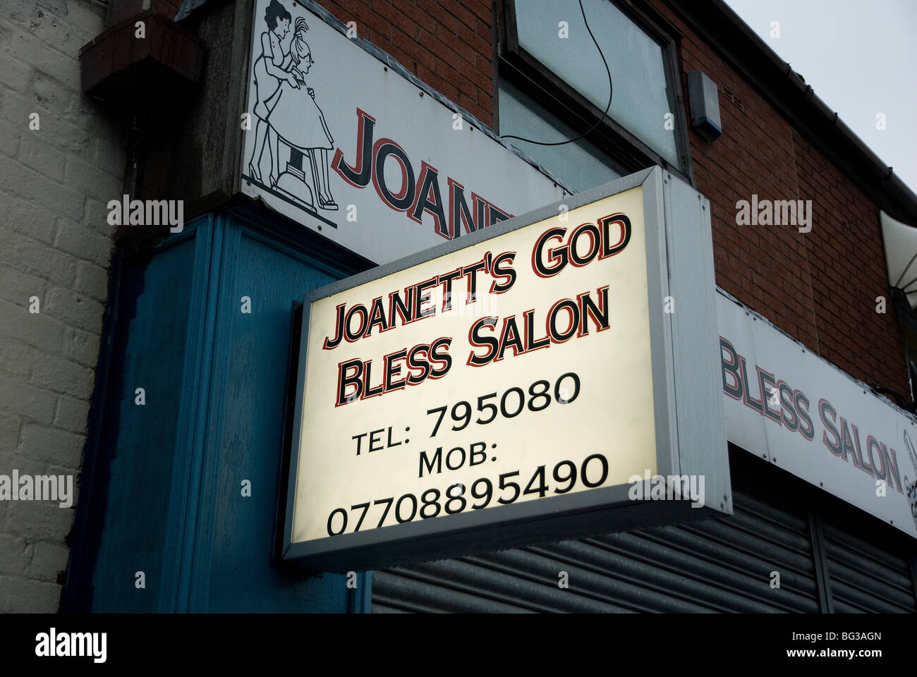 Joanette's God Bless Salon in Preston, Lancashire - Stock Image