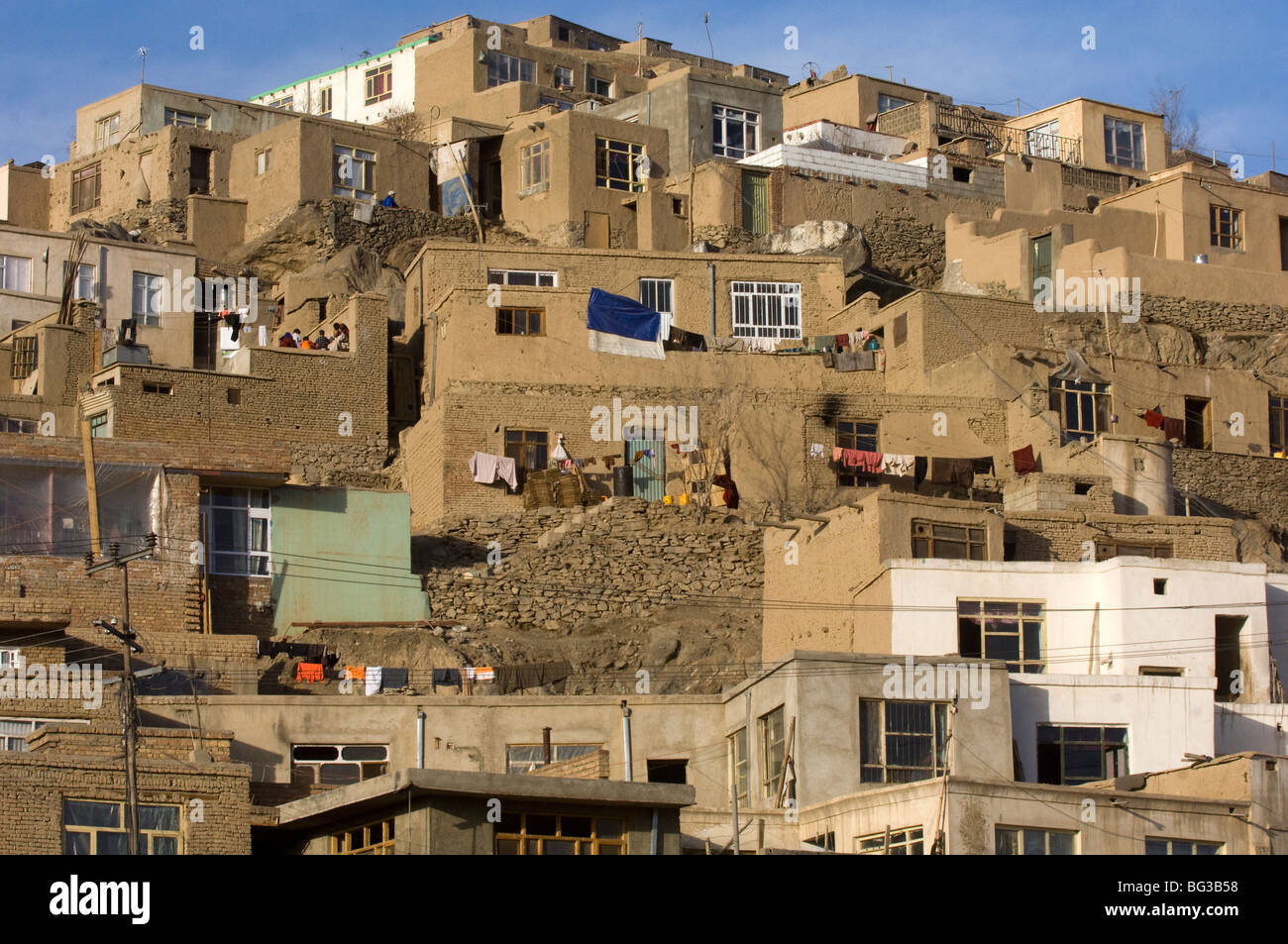 Houses in Kabul city, Afghanistan. - Stock Image