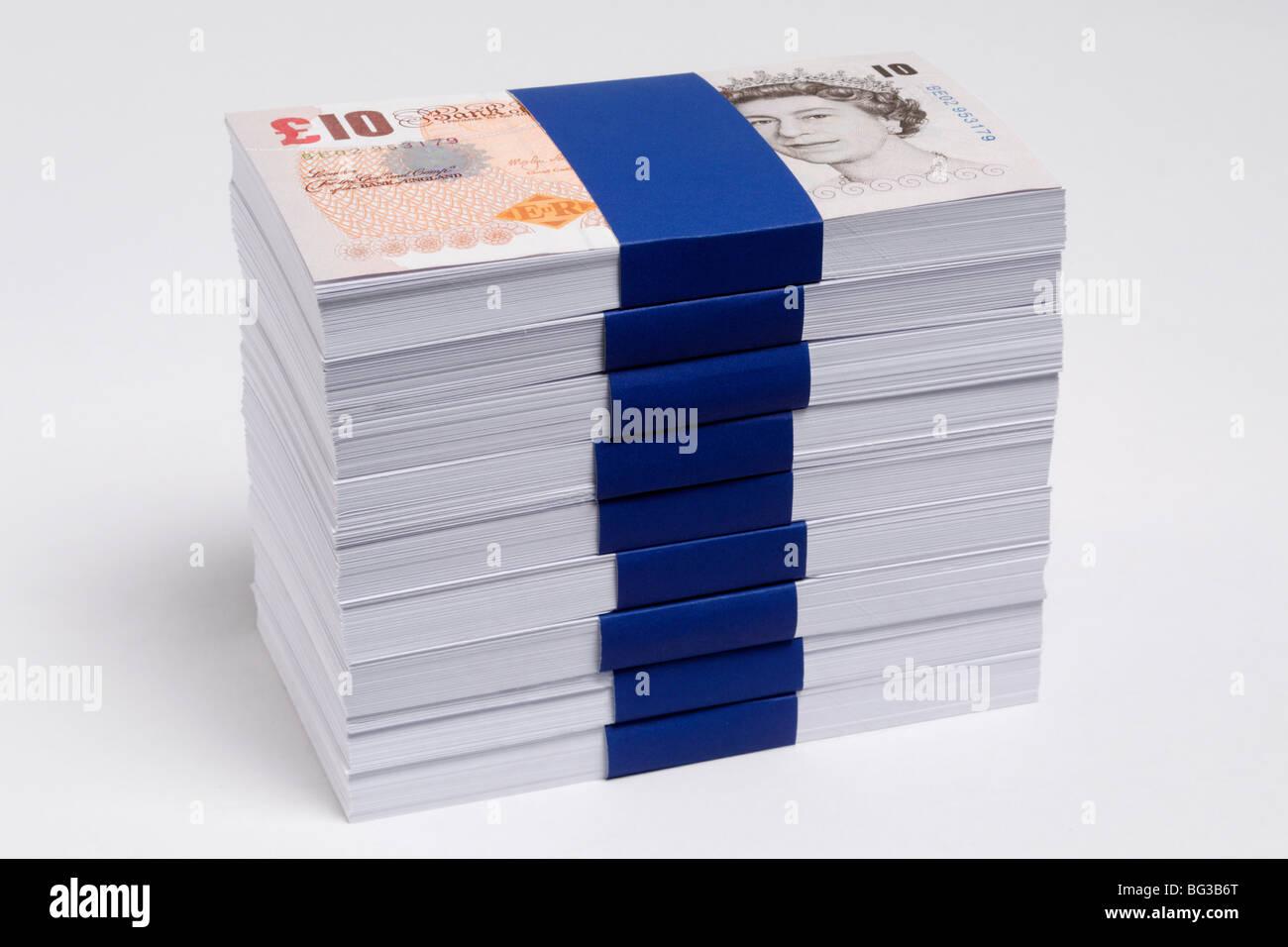 Ten Pound notes - Stock Image