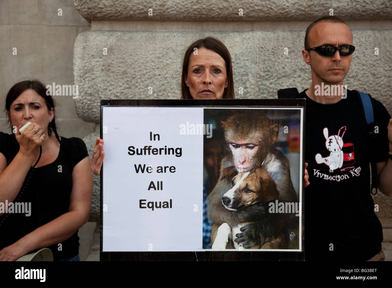 Animal Welfare protesters demonstrate against animal testing, central London. - Stock Image