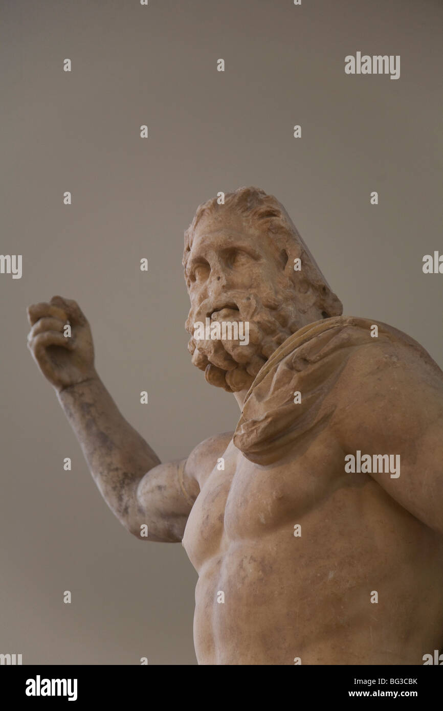 Statue of Poseidon, found in Milos, National Archaeological Museum, Athens, Greece, Europe - Stock Image