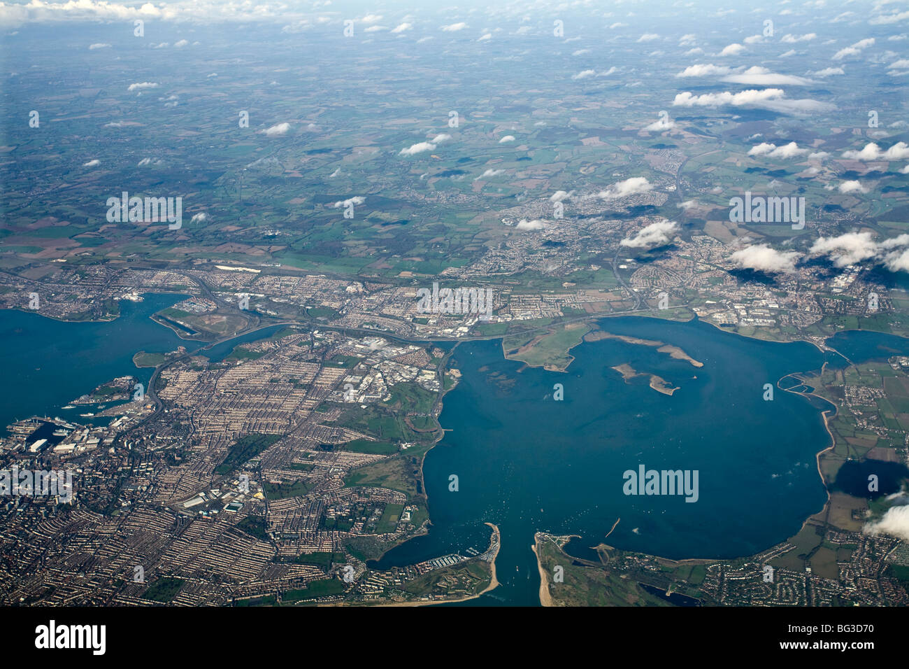 Portsmouth And Langstone Harbour Aerial View Stock Photo ...