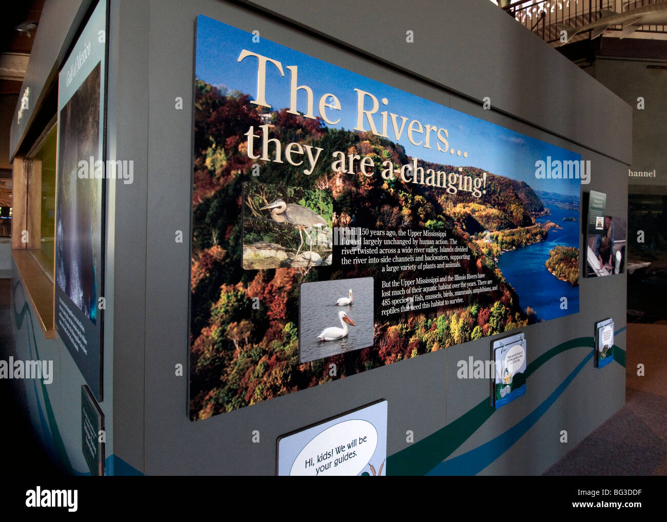 Exhibit at the National Mississippi River Museum and Aquarium in Dubuque, Iowa - Stock Image