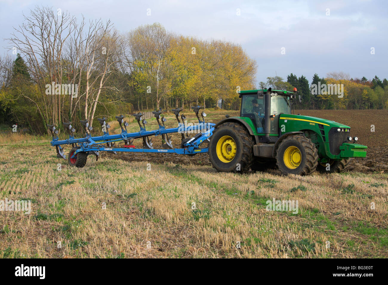 Autumn ploughing - Stock Image