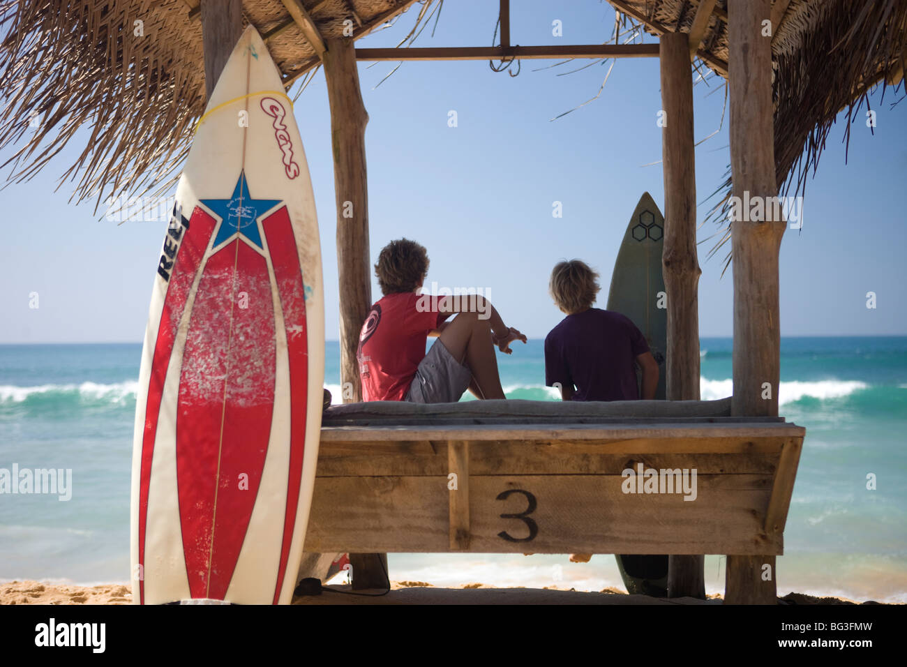 Surfers on Hikkaduwa Beach, Sri Lanka Stock Photo
