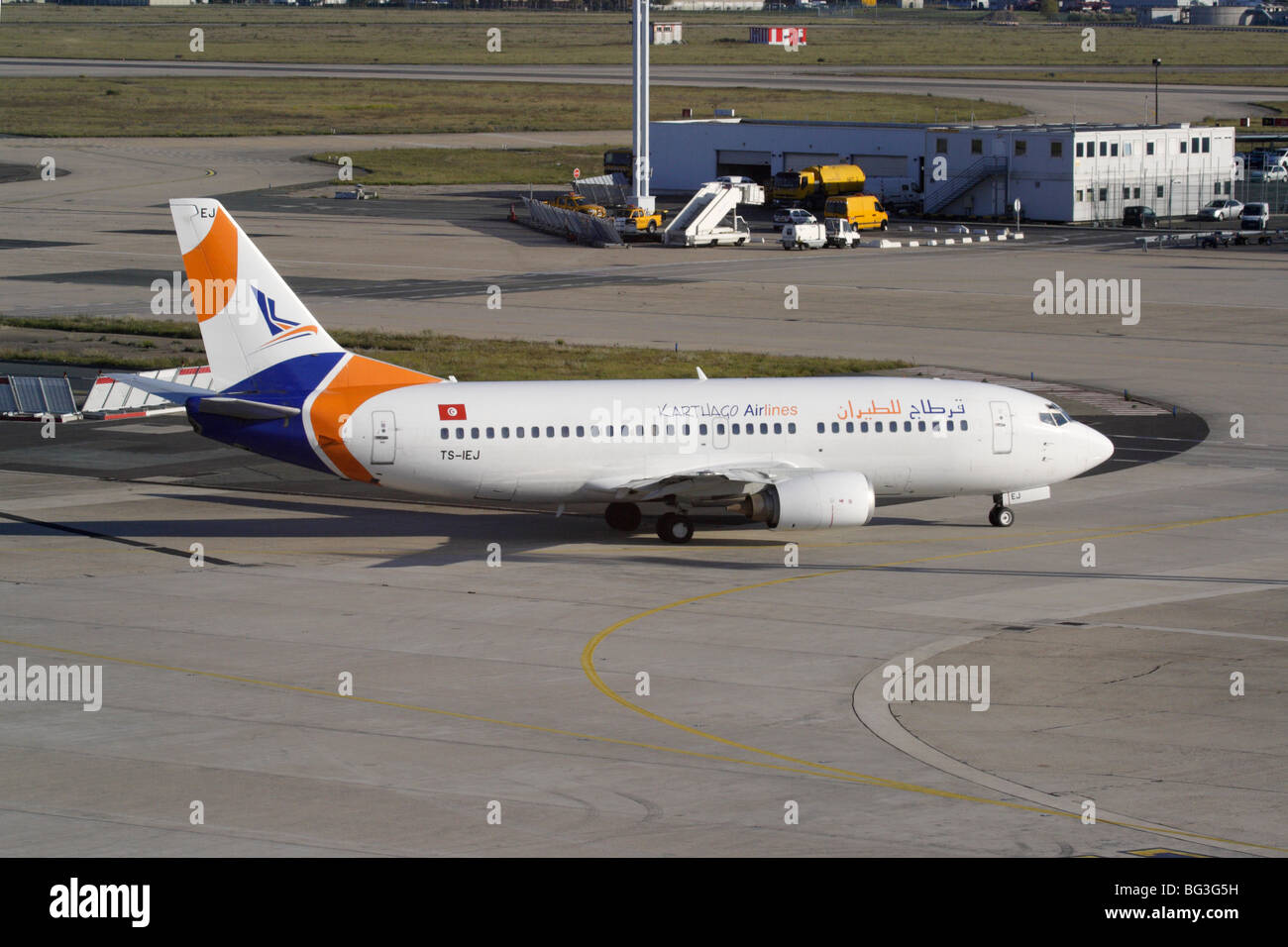 Karthago Airlines Boeing 737-300 airliner taxiing at Paris Orly Airport - Stock Image