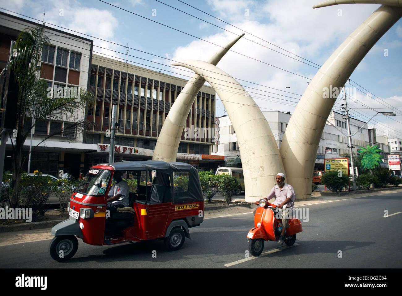 Elephant tusk arches, Mombasa, Kenya, East Africa, Africa - Stock Image