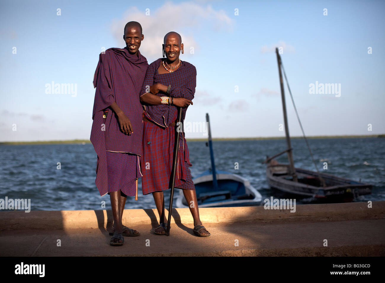 Maasai tribesmen on the island of Lamu, Kenya, East Africa, Africa Stock Photo