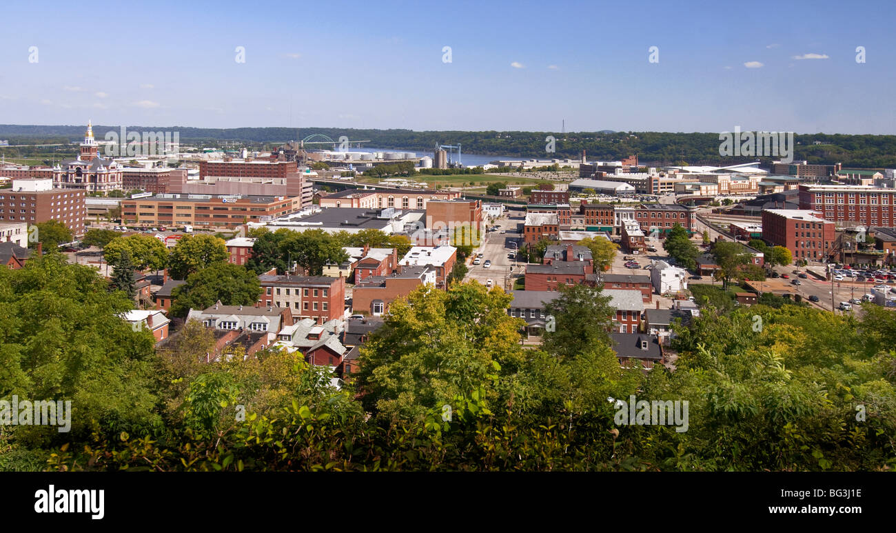 View of the city from  Fenelon Place  in Dubuque, Iowa. - Stock Image