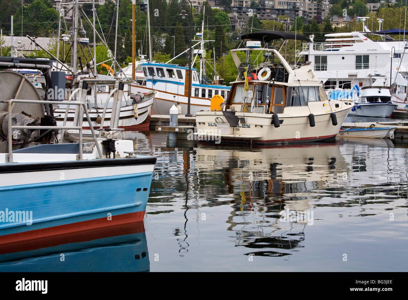 Fishermen's Terminal, Seattle, Washington State, United States of America, North America - Stock Image
